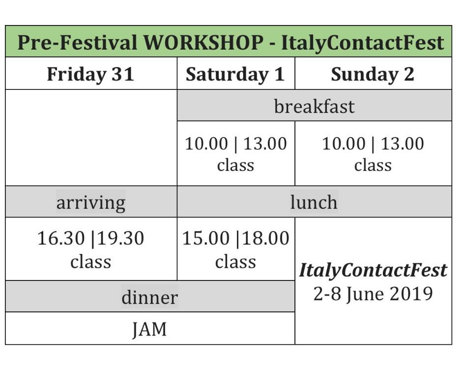 Schedule - PreFestival