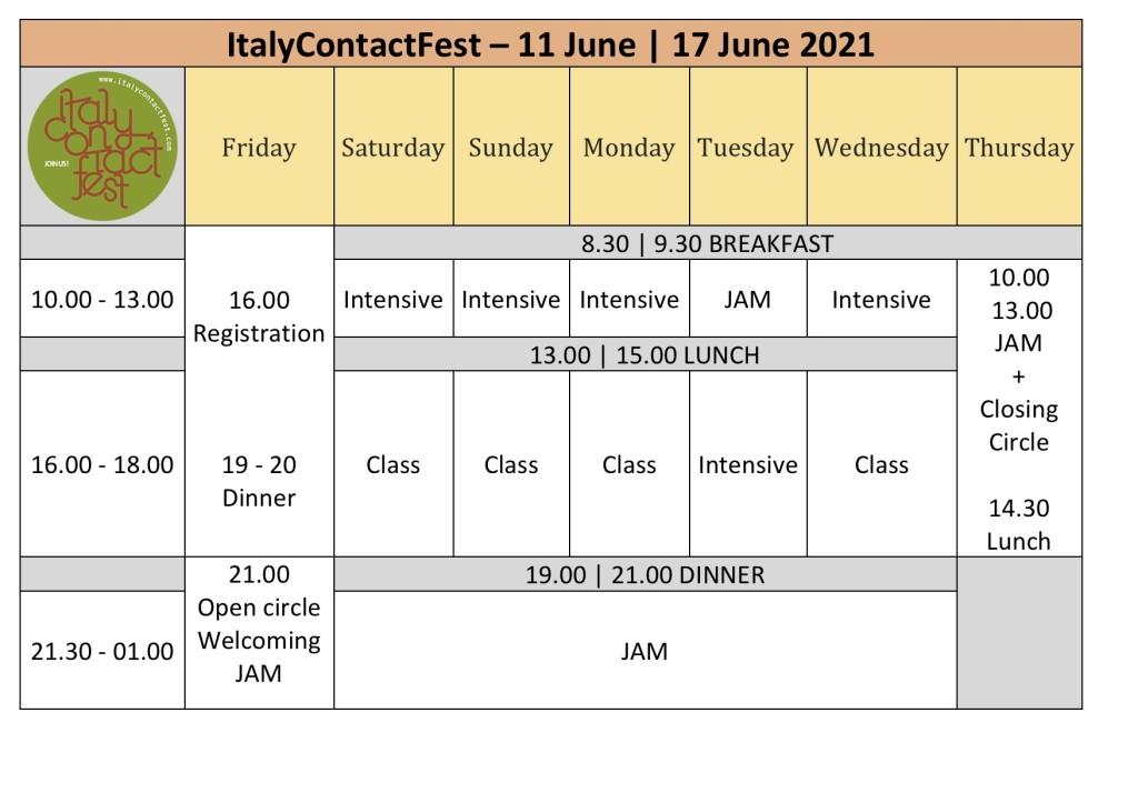 Schedule01 - ItalyContactFest 2021